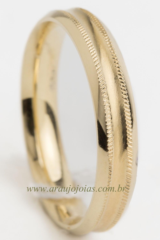 Aliança de casamento em ouro 18K 750 Lírio