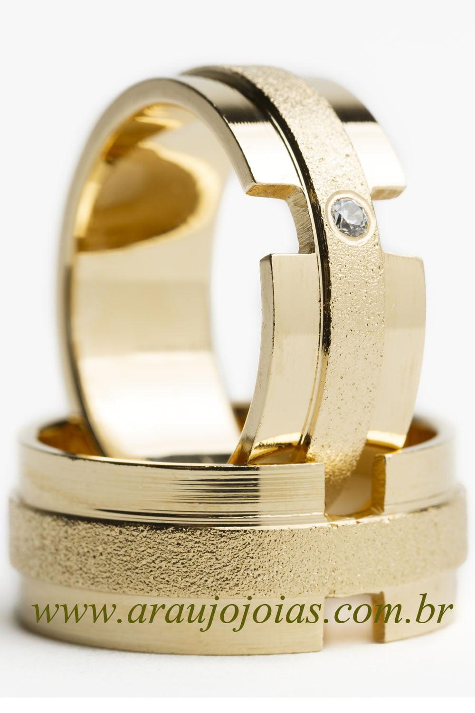 Aliança de casamento em ouro 18K 750 Iluminar