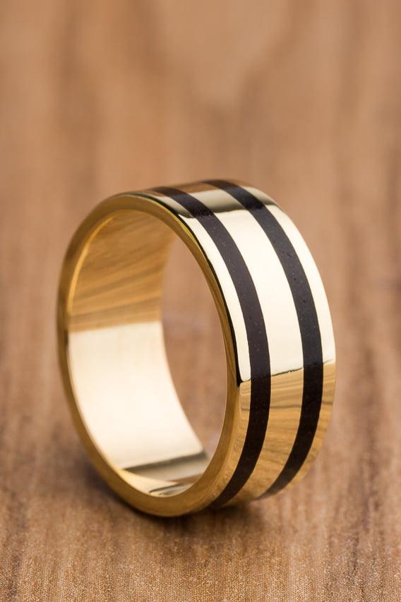 Aliança de casamento em ouro 18K 750 e madeira  Duas Ilhas - Valor Unitário