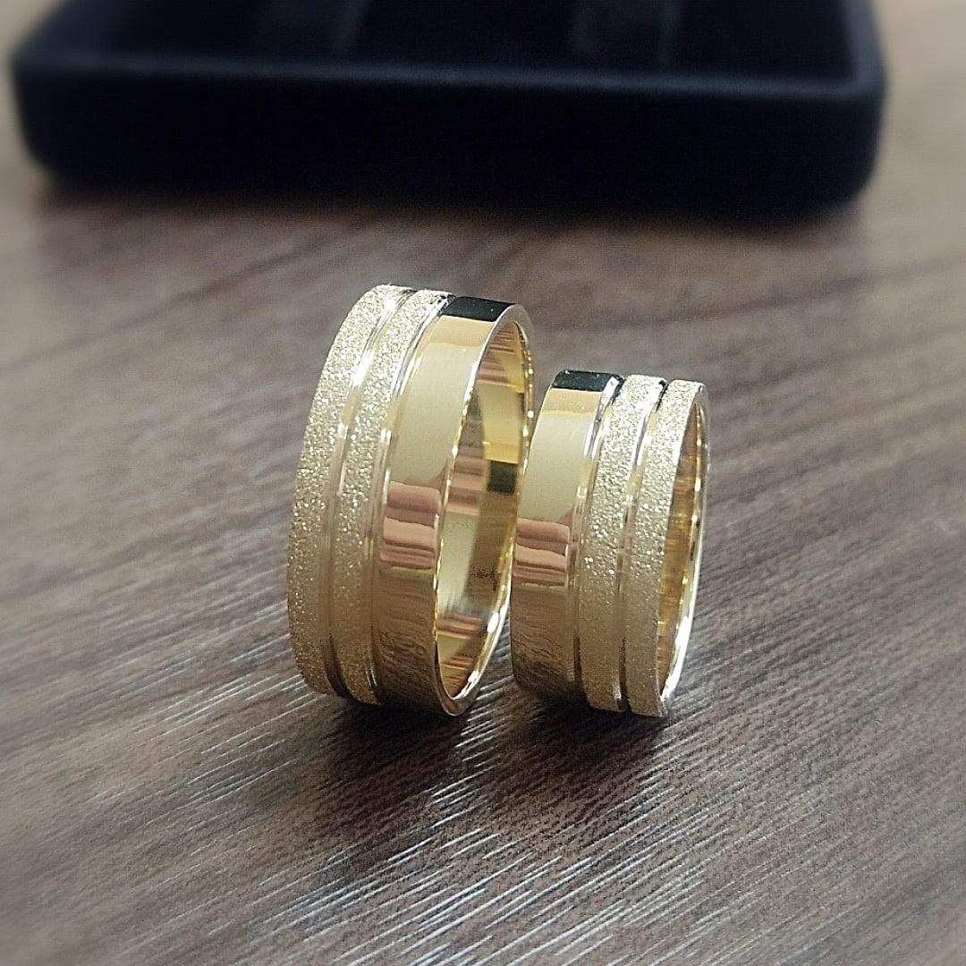 Aliança de Casamento eu Ouro 18K com 16 gramas de Ouro o Par AJC 003