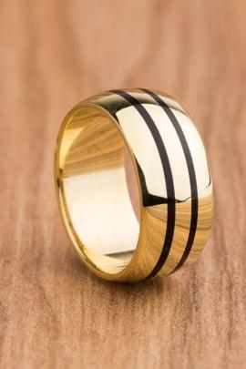 Aliança de casamento em ouro 18K 750 e madeira Lendas AMD 023