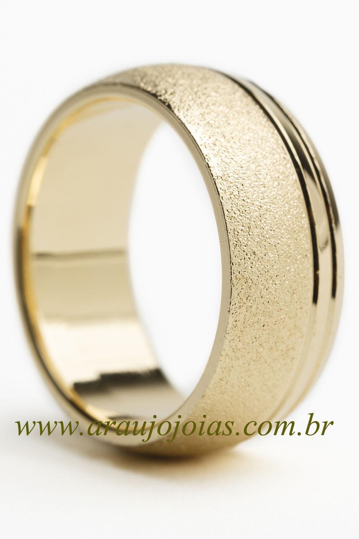Aliança de casamento em ouro 18K 750 Compasso